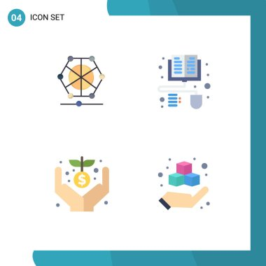 Pack of 4 Modern Flat Icons Signs and Symbols for Web Print Media such as machine, funding, data, ebook, box Editable Vector Design Elements icon