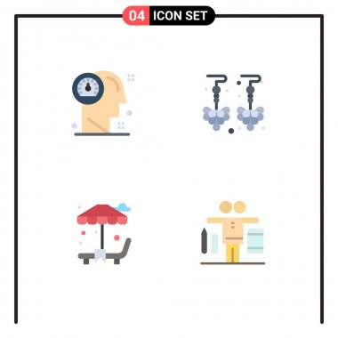 Pack of 4 creative Flat Icons of dashboard, park, human, earrings, balance Editable Vector Design Elements icon