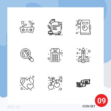 Stock Vector Icon Pack of 9 Line Signs and Symbols for education, machine, descriptive statistics, credit, magnifying glass Editable Vector Design Elements icon