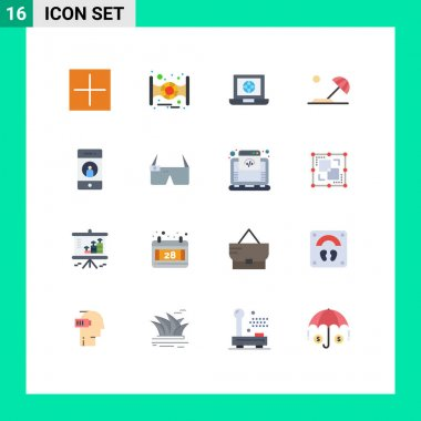 Stock Vector Icon Pack of 16 Line Signs and Symbols for media, add, world, sun, destination Editable Pack of Creative Vector Design Elements icon