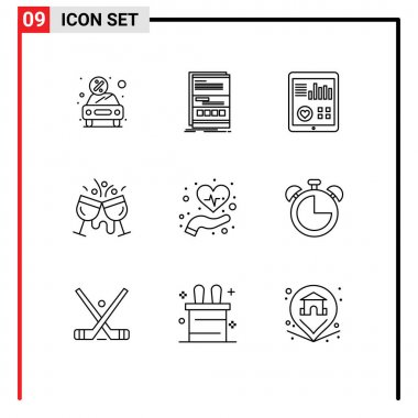 Stock Vector Icon Pack of 9 Line Signs and Symbols for cocktail, cafe, page, patient report, heart Editable Vector Design Elements icon