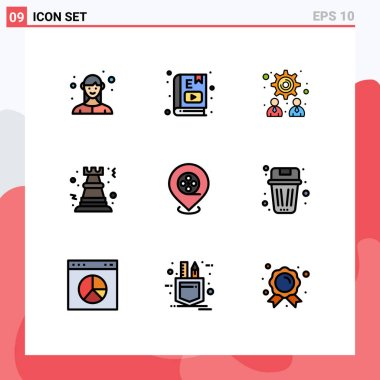 Stock Vector Icon Pack of 9 Line Signs and Symbols for cinema, rock, study, game, pawn Editable Vector Design Elements icon
