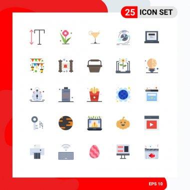 25 Universal Flat Color Signs Symbols of website, browser, juice, reference, performance Editable Vector Design Elements