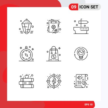 Stock Vector Icon Pack of 9 Line Signs and Symbols for money, bag, ship, travel, gps Editable Vector Design Elements icon