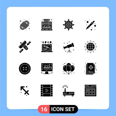 Stock Vector Icon Pack of 16 Line Signs and Symbols for broadcasting, liquidator, web, dropper, color picker Editable Vector Design Elements icon