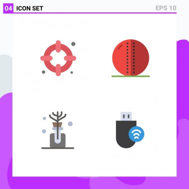 Flat Icon Pack of 4 Universal Symbols of insurance, oil, cricket ball, solid ball, computers Editable Vector Design Elements icon