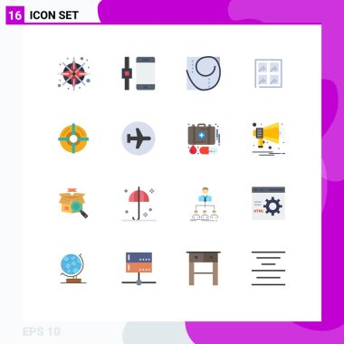 Set of 16 Modern UI Icons Symbols Signs for point, arrow, perfection, target, construction Editable Pack of Creative Vector Design Elements icon