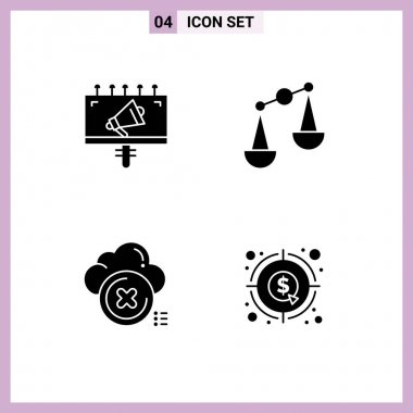 Stock Vector Icon Pack of 4 Line Signs and Symbols for ad, close, marketing, scales, cross Editable Vector Design Elements icon