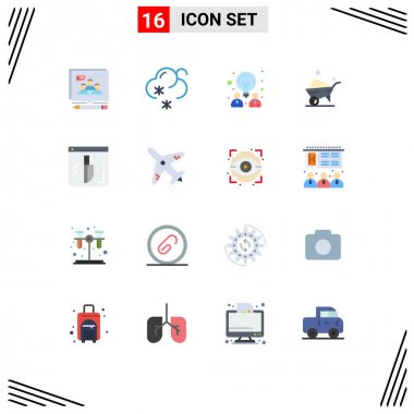 Universal Icon Symbols Group of 16 Modern Flat Colors of knife, evidence, creative, wheel, one wheel Editable Pack of Creative Vector Design Elements icon