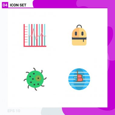 User Interface Pack of 4 Basic Flat Icons of progress, animal, patient, backbag, cell Editable Vector Design Elements icon