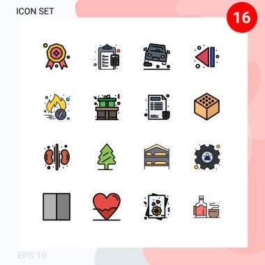 Stock Vector Icon Pack of 16 Line Signs and Symbols for discount, hot sale, overtaking, multimedia, arrow Editable Creative Vector Design Elements icon
