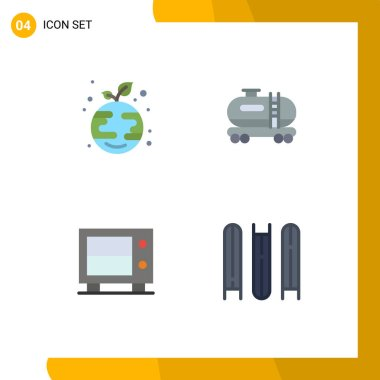 Pack of 4 creative Flat Icons of eco, safe, globe, pollution, education Editable Vector Design Elements icon