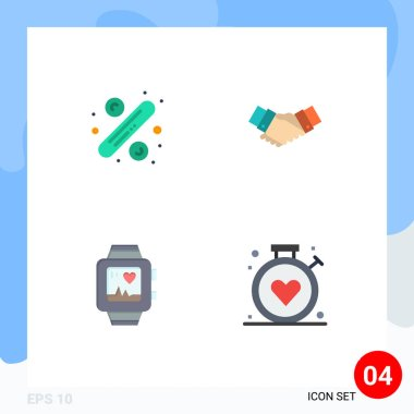 Flat Icon Pack of 4 Universal Symbols of percentage, partnership, tag, business, watch Editable Vector Design Elements icon
