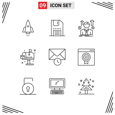 Stock Vector Icon Pack of 9 Line Signs and Symbols for life, city, interface, sales man, avatar Editable Vector Design Elements icon