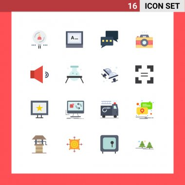 Stock Vector Icon Pack of 16 Line Signs and Symbols for speaker, photography, monitor, photo, camera Editable Pack of Creative Vector Design Elements icon
