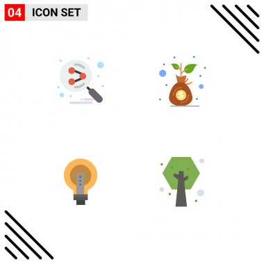 Stock Vector Icon Pack of 4 Line Signs and Symbols for network, bright, search engine, investment, idea Editable Vector Design Elements icon