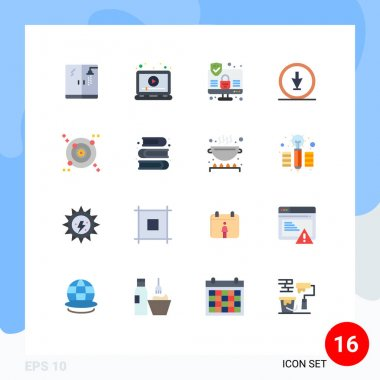 Stock Vector Icon Pack of 16 Line Signs and Symbols for orbit, pointer, computer, navigation, direction Editable Pack of Creative Vector Design Elements icon