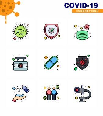 Corona virus disease 9 Filled Line Flat Color icon pack suck as capsule, medical, shield, hospital, safety viral coronavirus 2019-nov disease Vector Design Elements icon