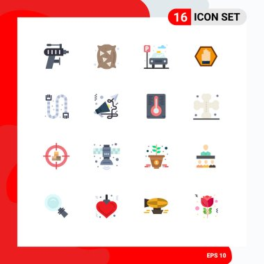 Set of 16 Modern UI Icons Symbols Signs for construction, traffic, city, sign, stop Editable Pack of Creative Vector Design Elements icon