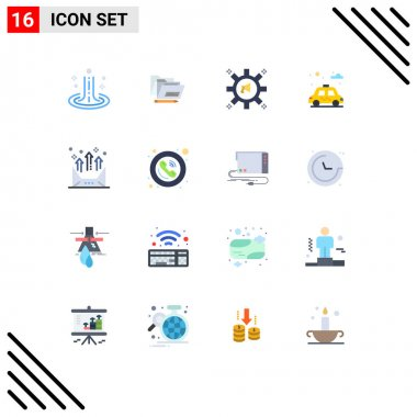 Set of 16 Modern UI Icons Symbols Signs for arrow, car, advertising, park, megaphone Editable Pack of Creative Vector Design Elements icon