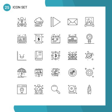 Stock Vector Icon Pack of 25 Line Signs and Symbols for marketing, room, cloud, hotel, message Editable Vector Design Elements icon