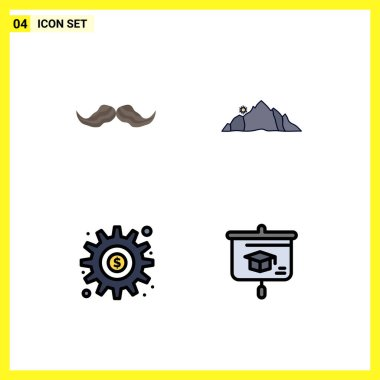 Stock Vector Icon Pack of 4 Line Signs and Symbols for moustache, scene, male, landscape, gear Editable Vector Design Elements icon