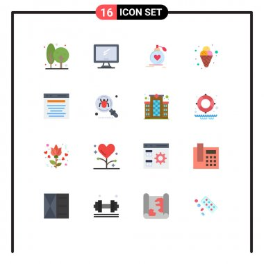 Set of 16 Modern UI Icons Symbols Signs for cream, wedding, imac, valentine, passion Editable Pack of Creative Vector Design Elements icon