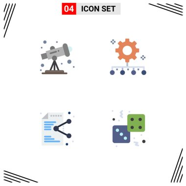 Editable Vector Line Pack of 4 Simple Flat Icons of astronomy, file, authority responsibility, work management, application Editable Vector Design Elements icon