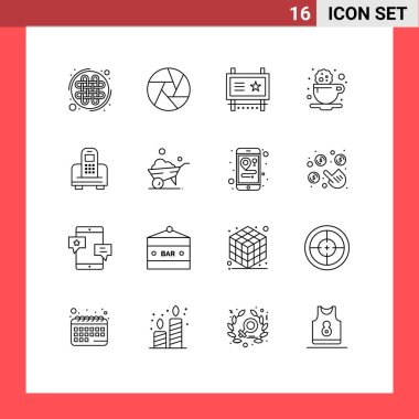 Stock Vector Icon Pack of 16 Line Signs and Symbols for device, cookie, ad board, coffee, road advertising Editable Vector Design Elements icon