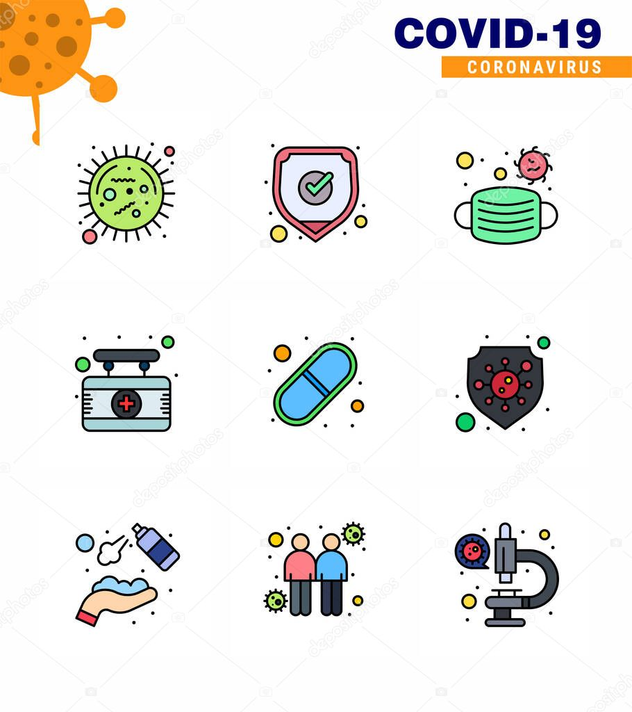 Corona virus disease 9 Filled Line Flat Color icon pack suck as capsule  medical  shield  hospital  safety viral coronavirus 2019-nov disease Vector Design Elements icon