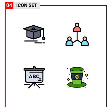 Stock Vector Icon Pack of 4 Line Signs and Symbols for cap, schoolbag, group, user, hat Editable Vector Design Elements icon
