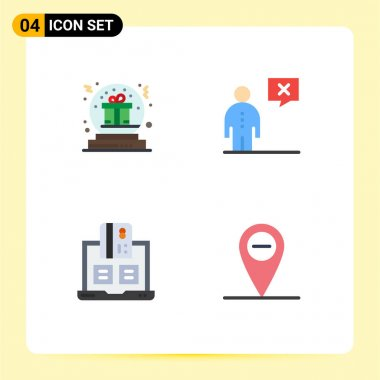 4 User Interface Flat Icon Pack of modern Signs and Symbols of present, management, gift, communication, cash Editable Vector Design Elements icon