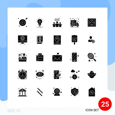 Stock Vector Icon Pack of 25 Line Signs and Symbols for electrical, shipping, group, love, success Editable Vector Design Elements icon