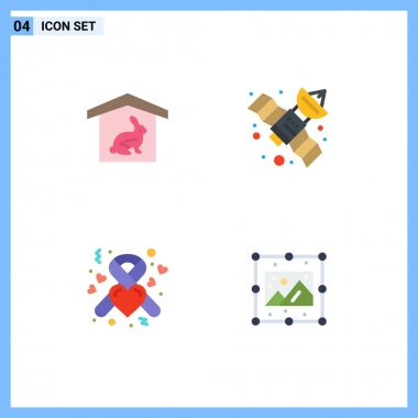 Pack of 4 Modern Flat Icons Signs and Symbols for Web Print Media such as house, heart, nature, space, creative Editable Vector Design Elements icon