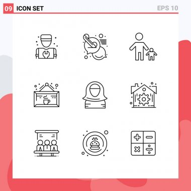 Stock Vector Icon Pack of 9 Line Signs and Symbols for shop, coffee, child, cafe, kid Editable Vector Design Elements icon