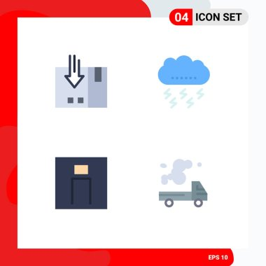 4 Universal Flat Icons Set for Web and Mobile Applications arrow, thunder, packing, cloud, man Editable Vector Design Elements icon