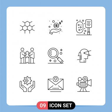 Stock Vector Icon Pack of 9 Line Signs and Symbols for interface, partners, bath, cooperation, partners collaboration Editable Vector Design Elements icon