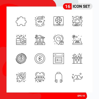 Stock Vector Icon Pack of 16 Line Signs and Symbols for camera, graph, live, business, analysis Editable Vector Design Elements icon