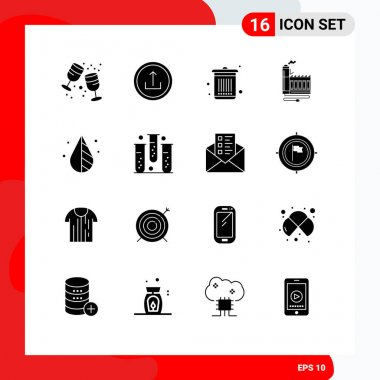 Stock Vector Icon Pack of 16 Line Signs and Symbols for manufacturing, energy, navigation, resource, waste Editable Vector Design Elements icon