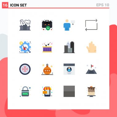 Set of 16 Modern UI Icons Symbols Signs for analysis, play, time, arrow, human Editable Pack of Creative Vector Design Elements icon