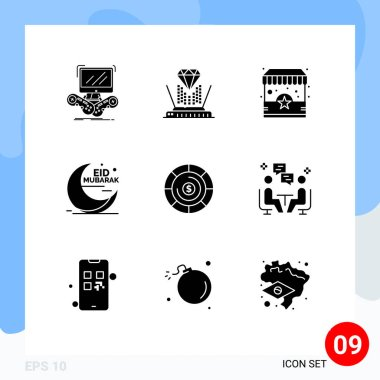 Stock Vector Icon Pack of 9 Line Signs and Symbols for muslim, moon, diamond, mubarak, stand Editable Vector Design Elements icon