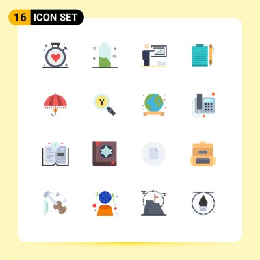 Set of 16 Modern UI Icons Symbols Signs for file, business, power, document, business Editable Pack of Creative Vector Design Elements icon