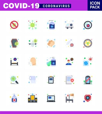 COVID19 corona virus contamination prevention. Blue icon 25 pack such as hospital, ambulance, corona, wash, handcare viral coronavirus 2019-nov disease Vector Design Elements icon