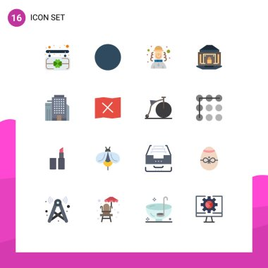 Set of 16 Modern UI Icons Symbols Signs for location, building, hat, office, lock Editable Pack of Creative Vector Design Elements icon