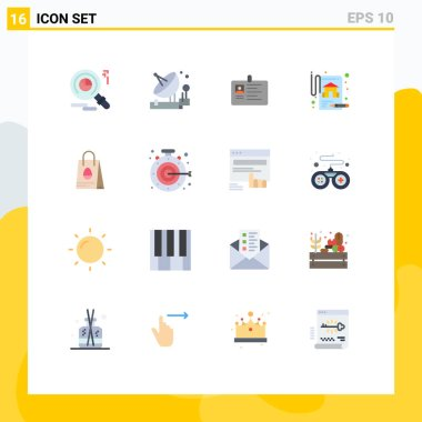 Universal Icon Symbols Group of 16 Modern Flat Colors of real estate, insurance, card, pass, id card Editable Pack of Creative Vector Design Elements icon