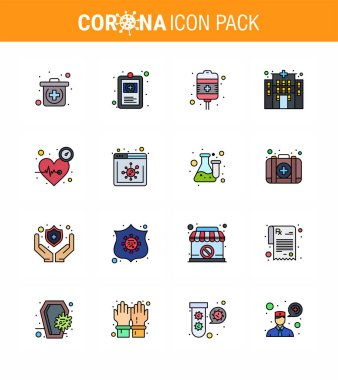 Coronavirus Precaution Tips icon for healthcare guidelines presentation 16 Flat Color Filled Line icon pack such as time, heart, recovery, beat, clinic viral coronavirus 2019-nov disease Vector Design Elements icon