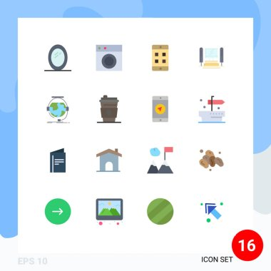 Stock Vector Icon Pack of 16 Line Signs and Symbols for online, consultation, mobile, cpu, computing Editable Pack of Creative Vector Design Elements icon