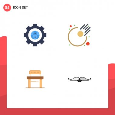 Pack of 4 Modern Flat Icons Signs and Symbols for Web Print Media such as browser, student, development, astronomy, school Editable Vector Design Elements icon