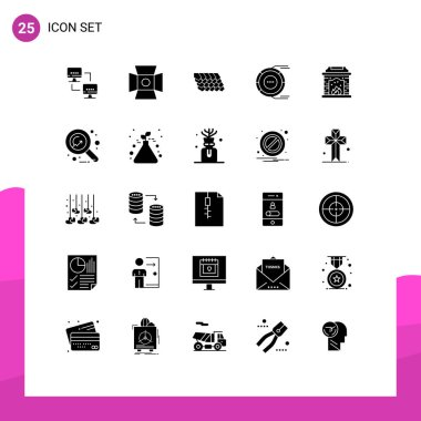 Stock Vector Icon Pack of 25 Line Signs and Symbols for chimney, estimation, roof, diagram, allocation Editable Vector Design Elements icon