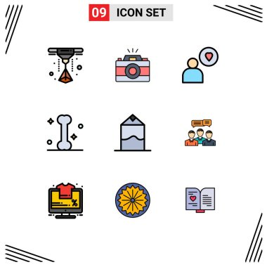 Set of 9 Modern UI Icons Symbols Signs for consulting, chat, heart, pack, cream Editable Vector Design Elements icon